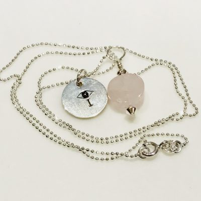 Rose Quartz I AMuleT evil eye Necklace