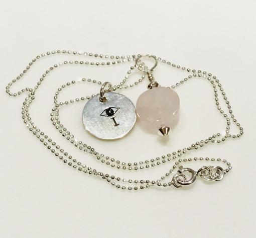 Rose Quartz I AMuleT evil eye Necklace