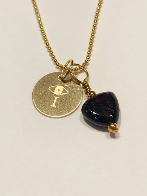 I AMulet in gold fill with garnet